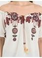 Loft Kayık Yaka Desenli Bluz Beyaz